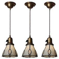 Petite Antique Leaded Glass Pendant Lights