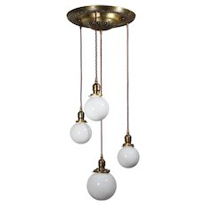 Antique Semi-Flush Brass Chandelier with Ball Shades
