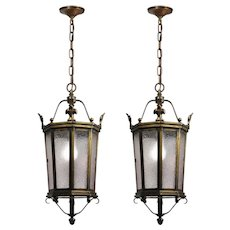 Antique Bronze Lanterns with Granite Glass, Fleur De Lis