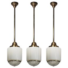 Antique Brass Art Deco Skyscraper Pendant Lights with Two-Part Prismatic Shade