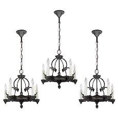 Antique Five-Light Tudor Chandeliers, 1920's