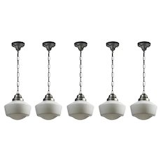Petite Antique Schoolhouse Pendant Lights, Darkened Nickel