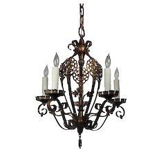 Antique Bronze Spanish Revival Five-Light Chandelier