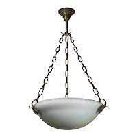 Antique Neoclassical Inverted Dome Chandelier, Original Acid Cut Back Glass