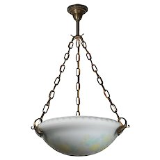 Antique Neoclassical Inverted Dome Chandelier, Original Acid Cut Back Glass