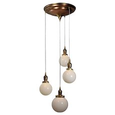 Semi Flush-Mount Chandelier with Ball Shades, Antique Lighting