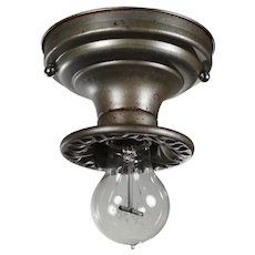Brass Flush-Mount Lights with Exposed Bulbs, Antique Lighting