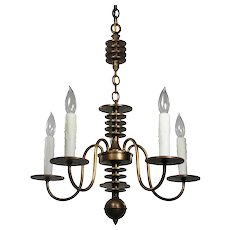 Antique Brass Art Deco Chandelier