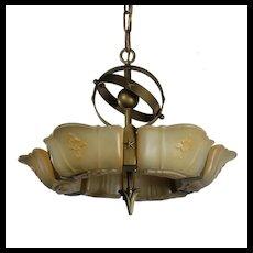 Antique Art Deco Slip Shade Chandelier