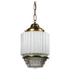 Antique Brass Art Deco Skyscraper Pendant Light with Two-Part Prismatic Shade