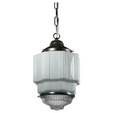 Antique Art Deco Skyscraper Pendant Light with Two-Part Prismatic Shade
