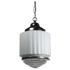 Art Deco Skyscraper Pendant Light with Two-Part Prismatic Shade, Antique Lighting