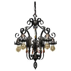 Antique Spanish Revival Five-Light Iron Chandelier, Early 1900s