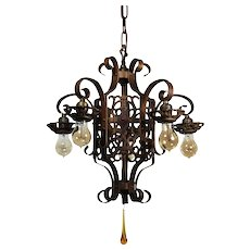 Antique Spanish Revival Five-Light Chandelier, Early 1900s