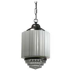 Art Deco Skyscraper Pendant with Two-Part Prismatic Shade, Antique Lighting