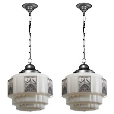 Antique Art Deco Skyscraper Pendant Lights, c.1920s