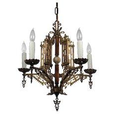 Antique Brass Art Deco Chandelier, Bakelite