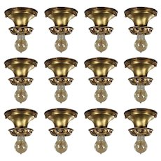 Antique Brass Flush-Mount Lights with Exposed Bulbs