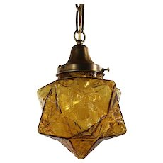 Pendant Light with Amber Crackle Glass, Antique Lighting