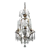 Antique Brass Neoclassical Chandelier with Prisms, c. 1910