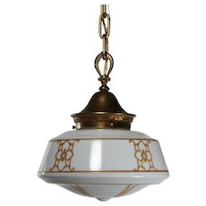 Antique Neoclassical Pendant Light with Original Glass Shade