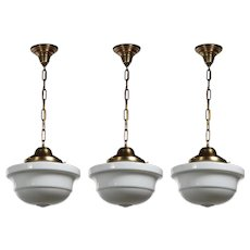 Antique Brass Schoolhouse Pendant Lights with Unusual Shade