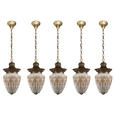 Antique Pendant Lights with Original Glass Shades