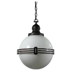 Unusual Antique Art Deco Pendant Light with Ball Shade