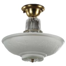 Vintage Flush Mount Fixture with Original Shade