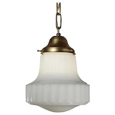 Petite Antique Schoolhouse Pendant Light with Original Shade