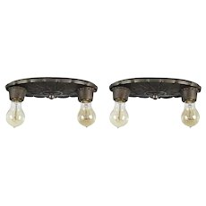Matching Antique Two-Light Cast Iron Flush Mount Fixtures, Radiant Light Fixture Co.