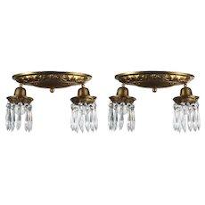 """Antique Brass Flush Mount Fixtures, """"Icicle"""" Prisms"""
