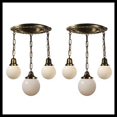 Antique Neoclassical Brass Semi Flush-Mount Chandeliers with Ball Shades