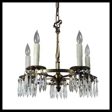 Antique Neoclassical Brass Chandelier with Prisms, Early 1900s