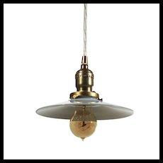 Brass Pendant Light with Milk Glass Shade, Antique Lighting