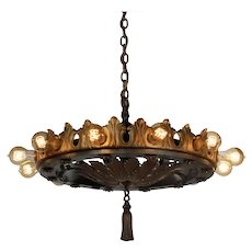 Substantial Antique Two-Tone Chandelier with Exposed Bulbs
