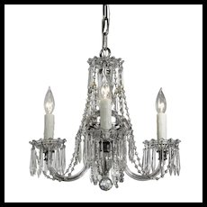 Four-Light Glass Chandelier with Prisms, Antique Lighting