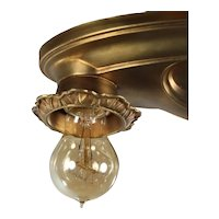 Neoclassical Brass Flush Mount Fixture, Antique Lighting