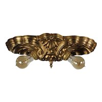 Antique Brass Two-Light Flush Mount Lights, Shells