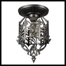 Antique Art Deco Exposed Bulb Flush Mount Fixture, c.1920