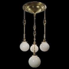 Antique Brass Semi Flush-Mount Chandelier with Ball Shades