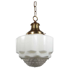 Unusual Antique Brass Pendant Light with Two-Part Prismatic Shade