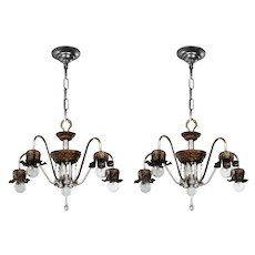 Matching Antique Two-Tone Chandeliers with Prisms, c. 1920