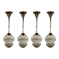 Matching Antique Pendant Lights with Glass Shades, Kayline