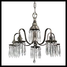 Antique Neoclassical Silver Plate Chandelier with Prisms