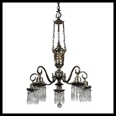 Antique Neoclassical Silver Plated Chandelier with Prisms