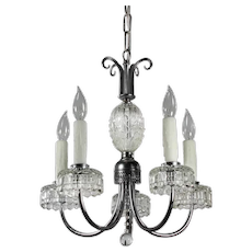 Antique Five-Light Silver Plated Chandelier, Early 1900's