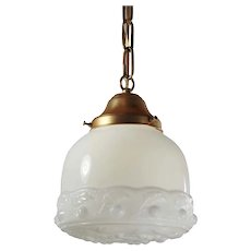Antique Brass Pendant Light with Original Shade