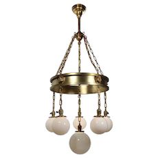 Rare Antique Arts & Crafts Figural Chandelier with Monks' Heads, c. 1905