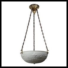 Antique Brass Neoclassical Inverted Dome Chandelier, c. 1910's